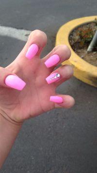 pink acrylic nails with rhinestones   nails   Pinterest ...