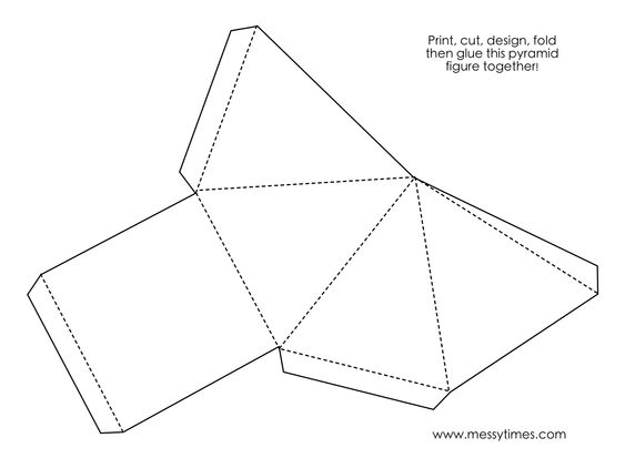A 3D pyramid object to cut, design, fold and glue together