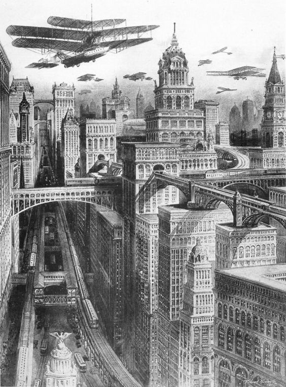 Skyscrapers and skybridges depicted in the book King's Views of New York
