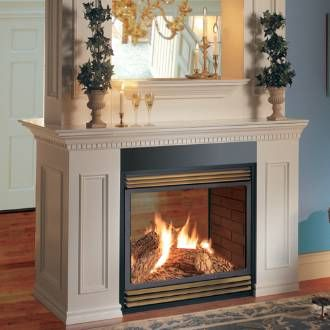 Natural gas fireplace Brick paneling and Gas fireplaces