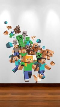 Minecraft Vinyl Wall Decals - large minecraft 3d removable ...