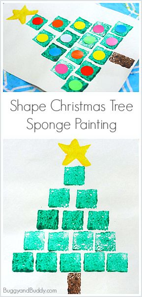 sponge painting kids shapes and christmas trees on pinterest