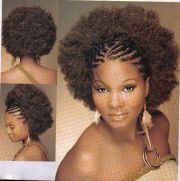 afro and cornrows braided front