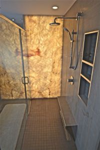 AFTER - Backlit onyx shower wall | LEDison backlit glass ...