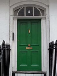 rich green front door with brass + black + white # ...