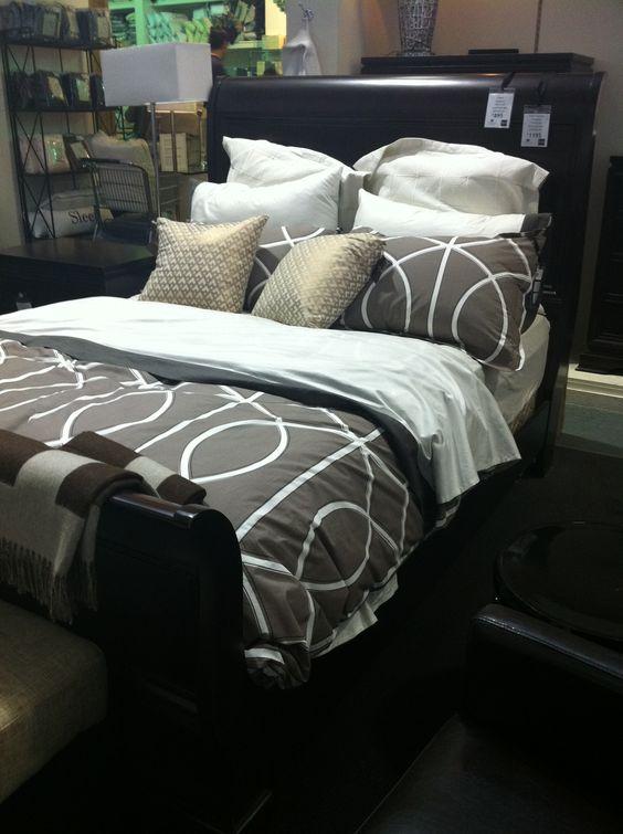 Sleigh Bed Gray Grey Cream White Dark Wood Bedding Guest
