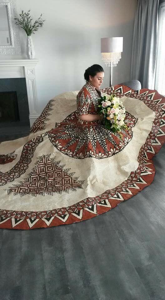 Real Tapa Wedding Dress With Tongan Artwork Designed By