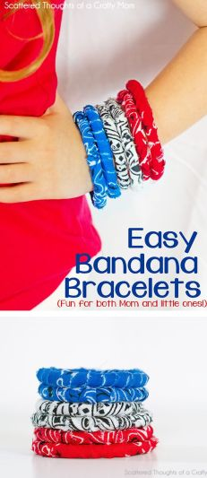 Scattered Thoughts of a Crafty Mom : No-Sew Simple Fabric Bracelet Tutorial (w/ Banadanas):