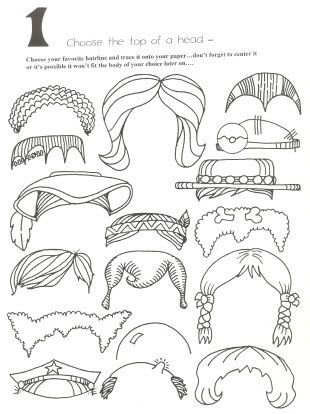 10 page cartoon head pieces for your kids to trace and