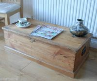 Old Antique Pine Plank coffee table chest blanket box ...
