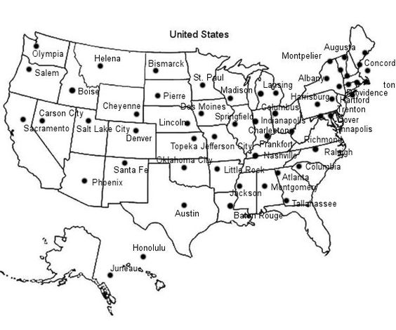 united states map printable with capitals Games for