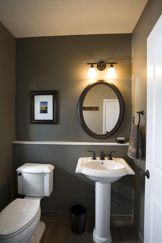 Dark sink fixtures Powder Room Small Powder Room Design