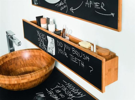 Chalkboard Paint Bathroom with Chalkboard Counter and Shelving Chalkboard Paint