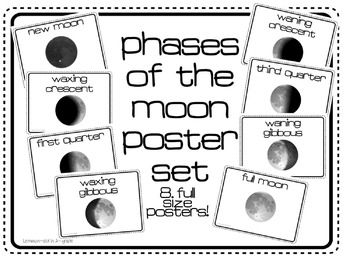 Phases of the Moon FREEBIE! Use as posters or a mini book