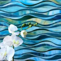 Blue, green, teal and yellow wave glass tile mosaic ...