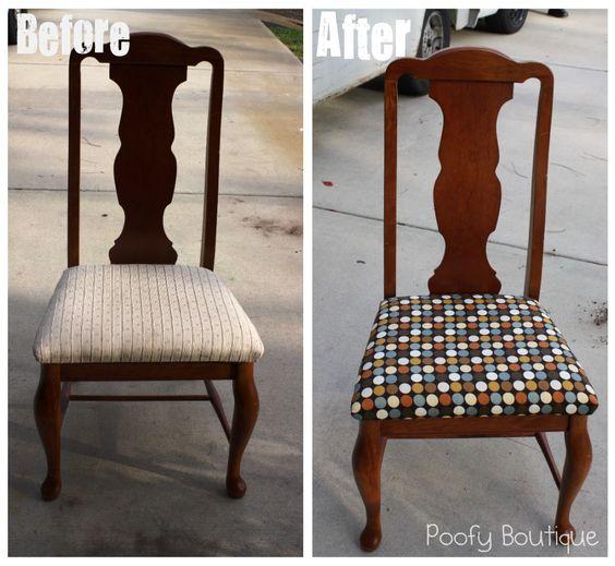 How to Reupholster Chair Seats  DIY  Pinterest  DIY