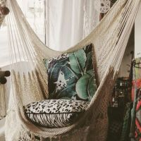 Hanging Hammock Chair With Macrame **Solid Color** Swing ...