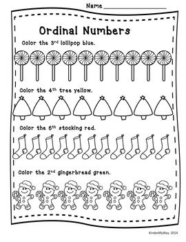 Christmas math, Ordinal numbers and Number words on Pinterest