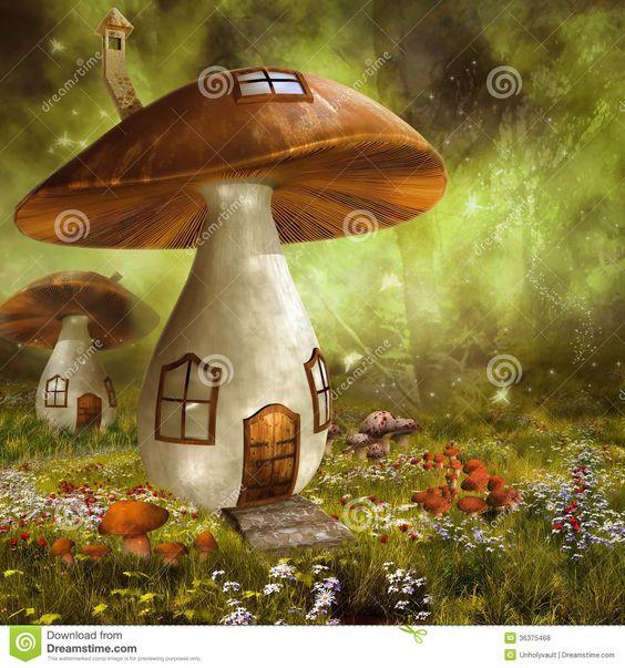 Fall Woodland Creatures Wallpaper Mushroom Houses Royalty Free Stock Image Image 34265526
