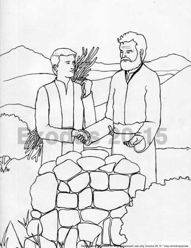 Abraham and Isaac Sacrifice Bible Colouring Page by jorele