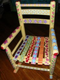 Hand Painted Whimsical Childs Rocking Chair ( THE HAPPY ...