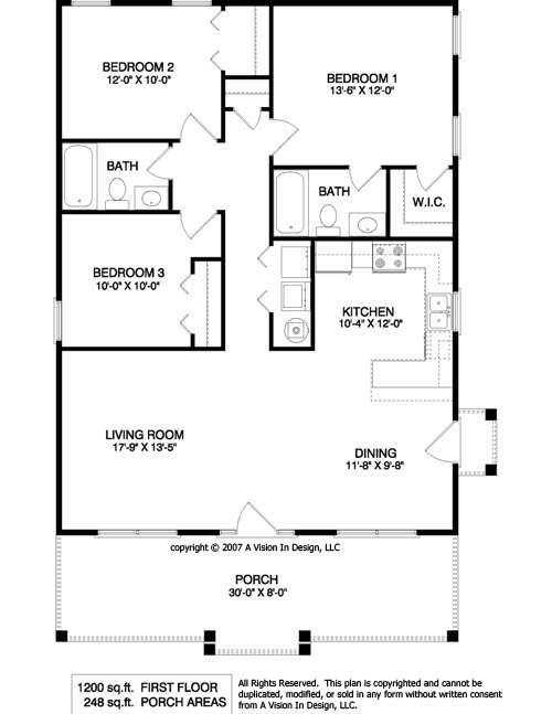 1950's Three Bedroom Ranch Floor Plans