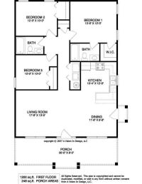 1950's Three Bedroom Ranch Floor Plans