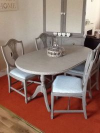 shabby chic oval kitchen/dining table and 4 chairs ...