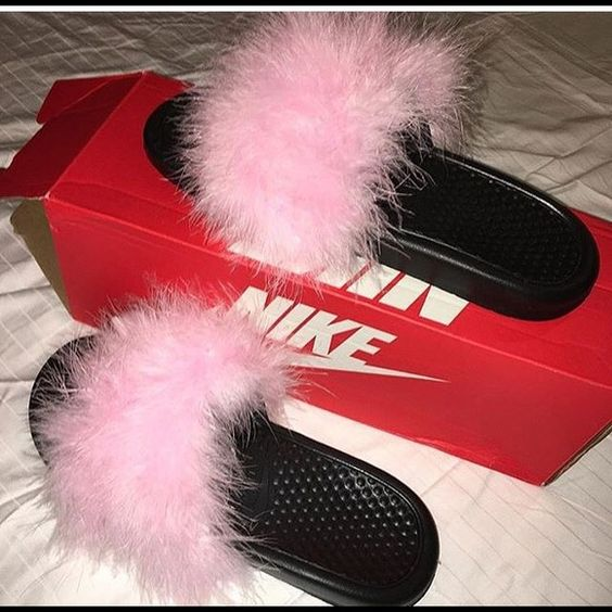 Furry Nike Slides NWT  Sporty Shopping and Colors