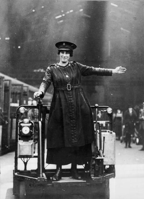 trolley driver, Liverpool Street Station, c 1916: