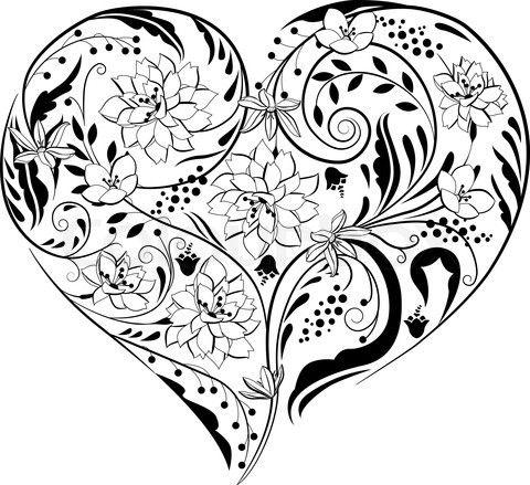 Happy Birthday Black and White heart Old Birthdays
