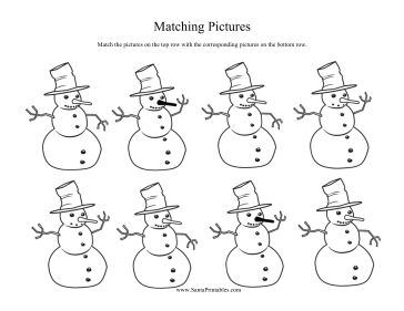 Each snowman on the top of this printable Christmas game