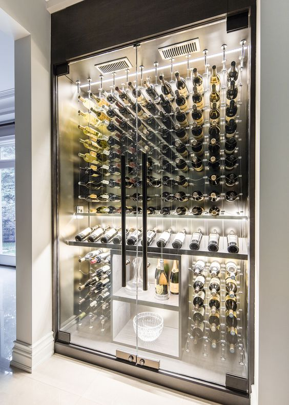 Modern Custom Reach In Wine Cellar Featuring The Cable Wine System Wwwcablewinesystemscom