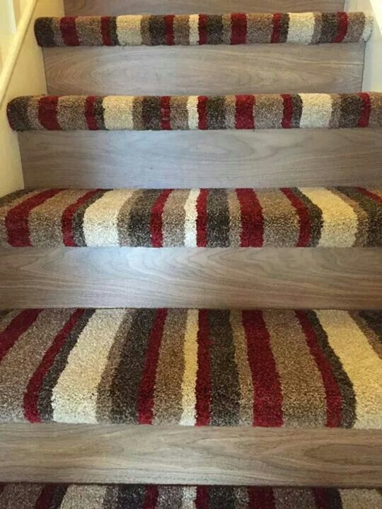Stripe Carpet With Wood For The Home Pinterest   Half Moon Stair Carpet