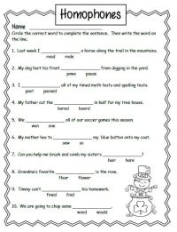 Free Homonyms Worksheets For 2nd Grade #1 | school ...