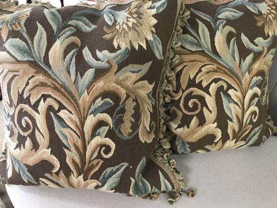 $208 Ea. 217-9008 Brown and Aqua aubusson wool pillows 20 x 20