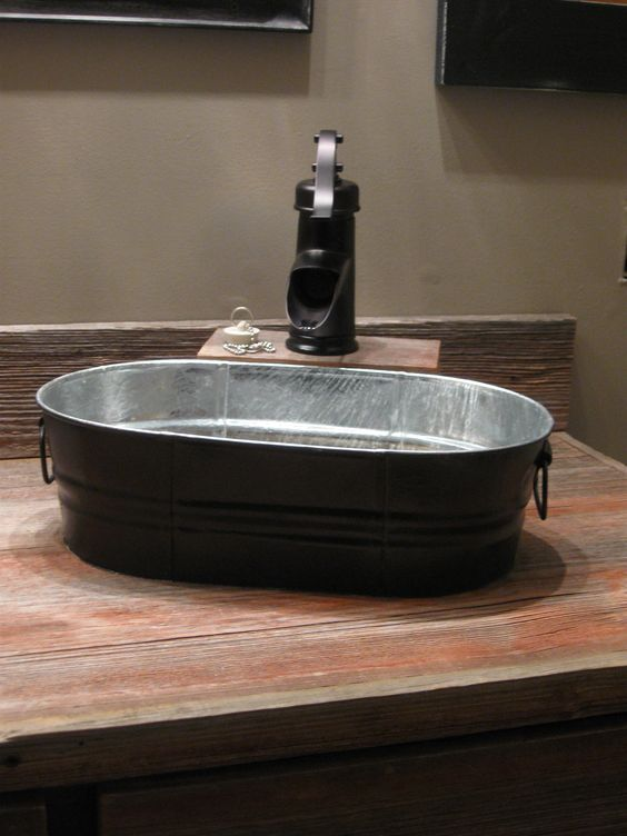 Our new sinks and faucets Wash tubs from Tractor Supply