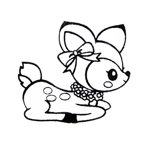 Cute Deer Stamp With Ribbon Kawaii Japan Self