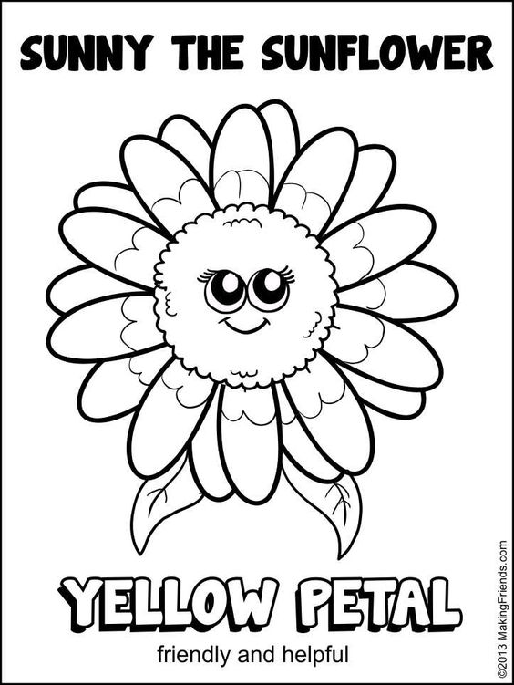 girl scout daisy yellow petal sunny the sunflower coloring