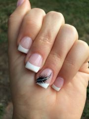 french tips with feather nails