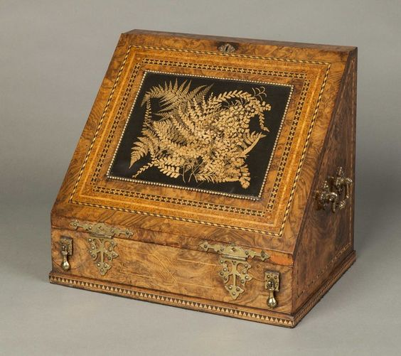 OnlineGalleries.com - An Antique Victorian Burr Walnut and Inlaid Travelling Writing / gorgeous -: