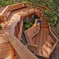 This unique stairway and deck combination provides levels ...