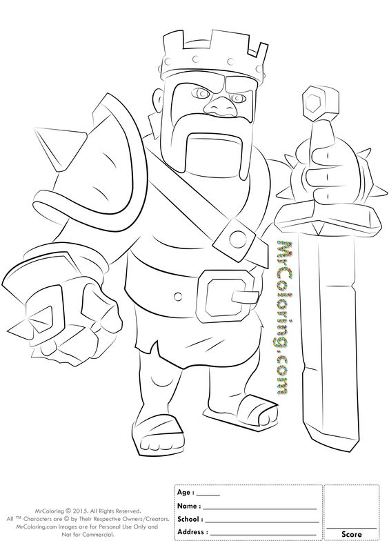 Free Printable Clash of Clans Barbarian King Coloring