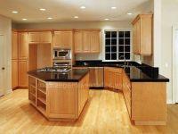 dark granite countertops on maple cabinets | Black Granite ...