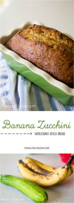 Easy homemade banana zucchini bread, perfect for freezing! Toast a slice and add a pat of butter for an amazing after school snack.: