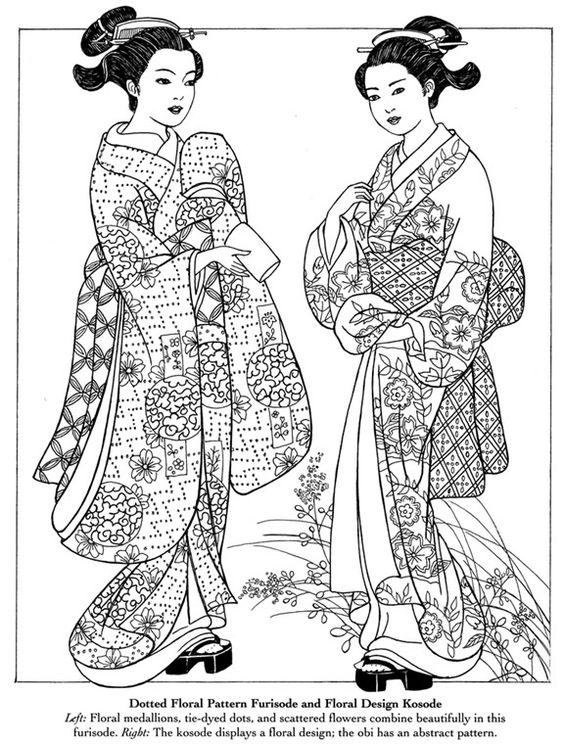 Japanese Kimono Coloring Pages: Japanese Kimono Coloring