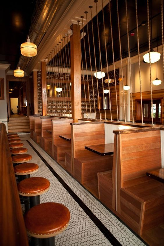 wooden back to back booth seating  Bars cafes