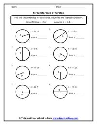 Circumference of a Circle worksheets | 7th Grade Standard ...