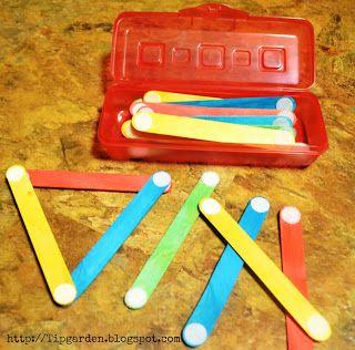 """DIY Toddler Activities - craft sticks and Velcro dots... """"Busy bag"""" okay weird…:"""
