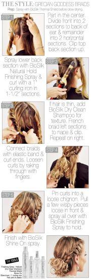 hair - grecian goddess braided